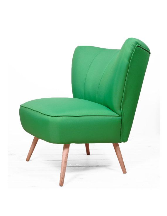 vintage coctail armchair green full restored