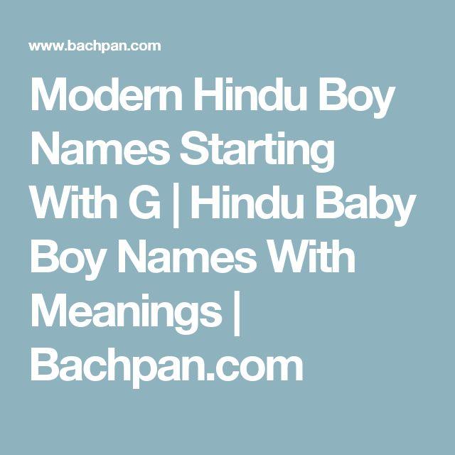 Modern Hindu Boy Names Starting With G