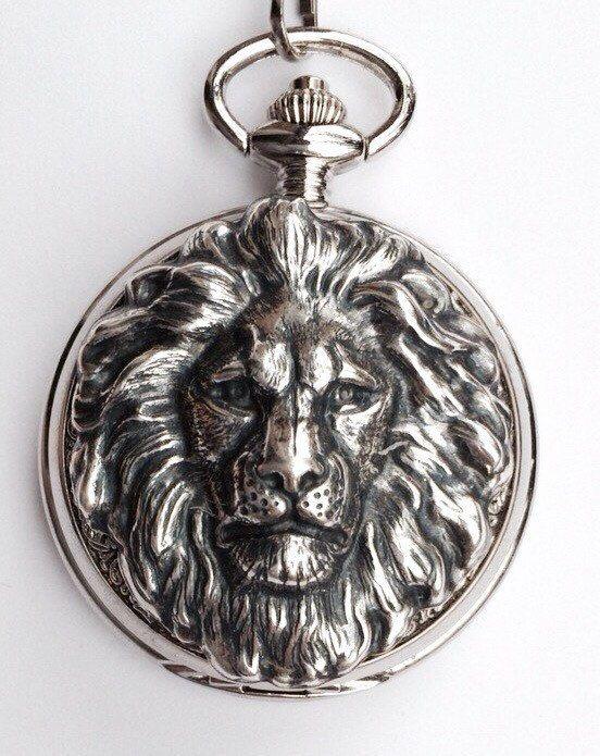 Lion Pocket Watch , Aslan Narnia Pocket Watch, Leo Gift Silver Pocket watch