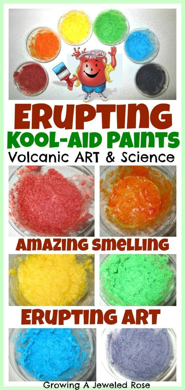 Explore Art & Science with ERUPTING Kool-aid Paints! Amazing smelling art…