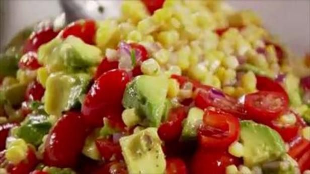 Get Corn and Avocado Salad Recipe from Food Network serve with tequila lime chicken, cheese board, roasted summer vegetables, cheese board, baquette