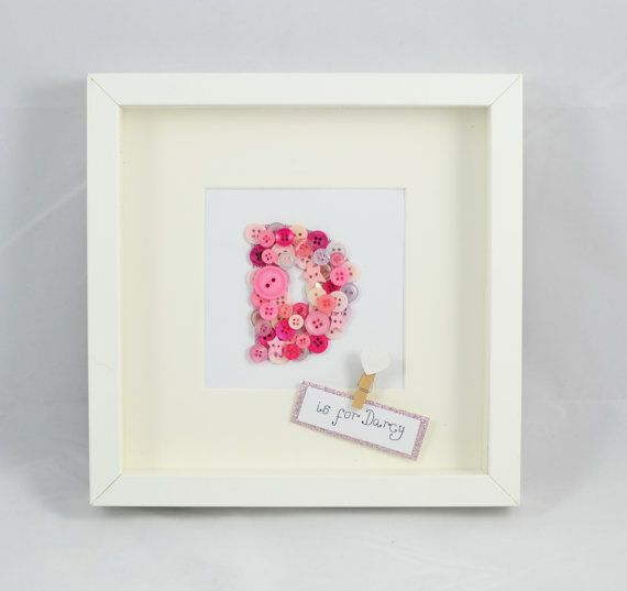 Personalised button letter frame birthday by MakeItExtraSpecial