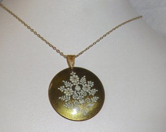 "Eva Scherer Wien Austria Enamel Pendant Necklace - 30"" L chain - 1 1/2"" Diameter"