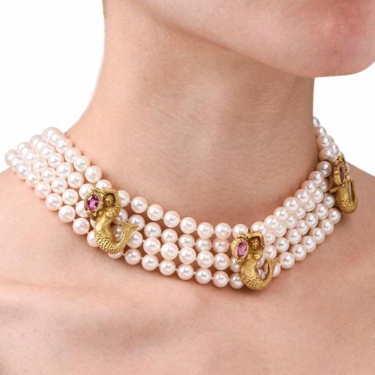 Barry Kieselstein Mermaid Gold Pearl Necklace 7