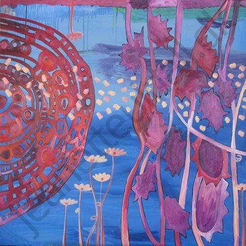 """""""Blå under verden""""  Olie og acryl på lærred -100 x 100 cm  -Jeanette Uldall"""
