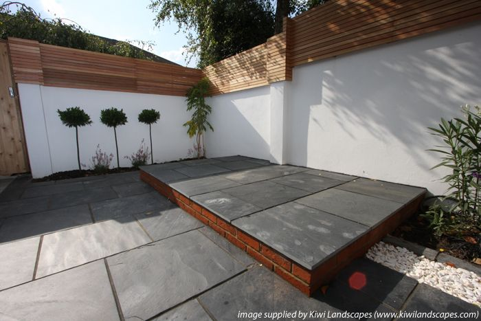 17 best images about courtyard flooring on pinterest for Blue slate garden designs