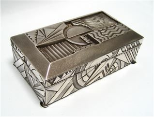 Geometric Art Deco Box, Silver plated white metal, wood lined  Sally Shell design  Japan, c. 1920
