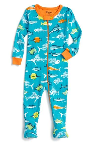 Hatley 'Fish Bones' Fitted One-Piece Pajamas