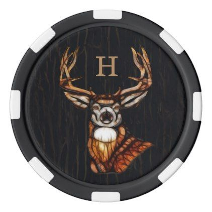 #Black Wooden Wood Deer Rustic Country Monogram Poker Chip Set - #country gifts style diy gift ideas