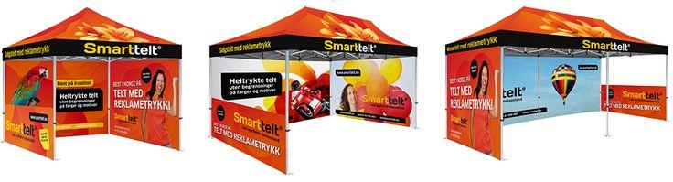 http://www.smarttelt.no/ Best på telt med reklametrykk  3x3 meter /  4x4 meter  3x4,5 meter / 4x6 meter  3x6 meter / 4x8 meter  Hos oss kan du skreddersy din pakke med telt og utstyr helt etter ditt eget behov. Vi har også laget 3 ferdige pakker som vil dekke de aller fleste behov. Bygg din egen løsning, eller velg en av våre gjennomtenkte pakkeløsninger.