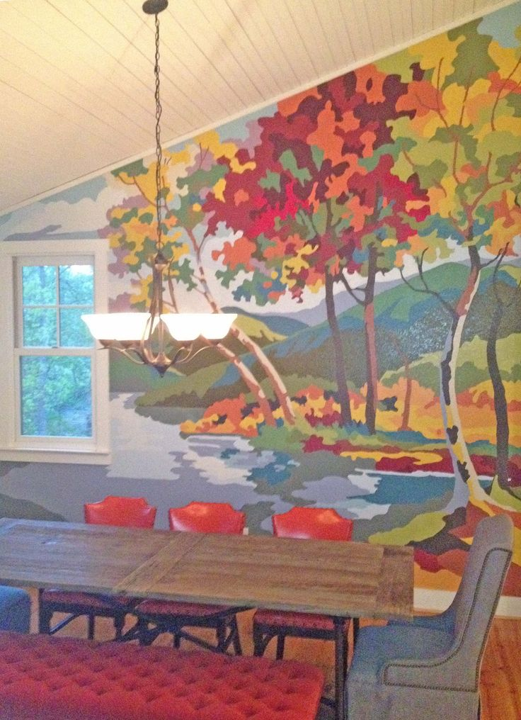 Paint by numbers mural inspired by two vintage paintings for Diy mountain mural