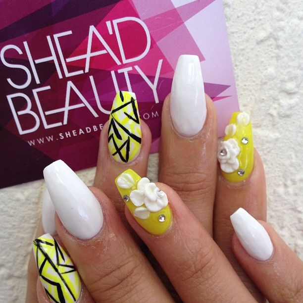 9 best nails images on pinterest cute nails nail scissors and abstract white and yellow nails with clay art as a matter of fact flowers and yellow color is always linked our minds in this instance you can with any solutioingenieria Image collections