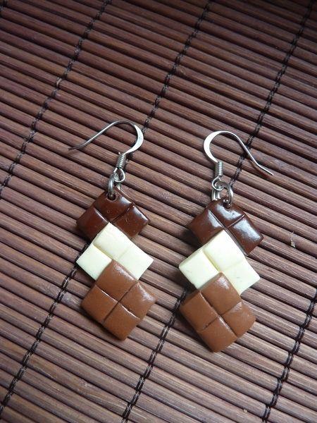 Boucles d'oreilles, boucles d'oreilles gourmande morceaux de chocolat est une création orginale de bubulles sur DaWanda