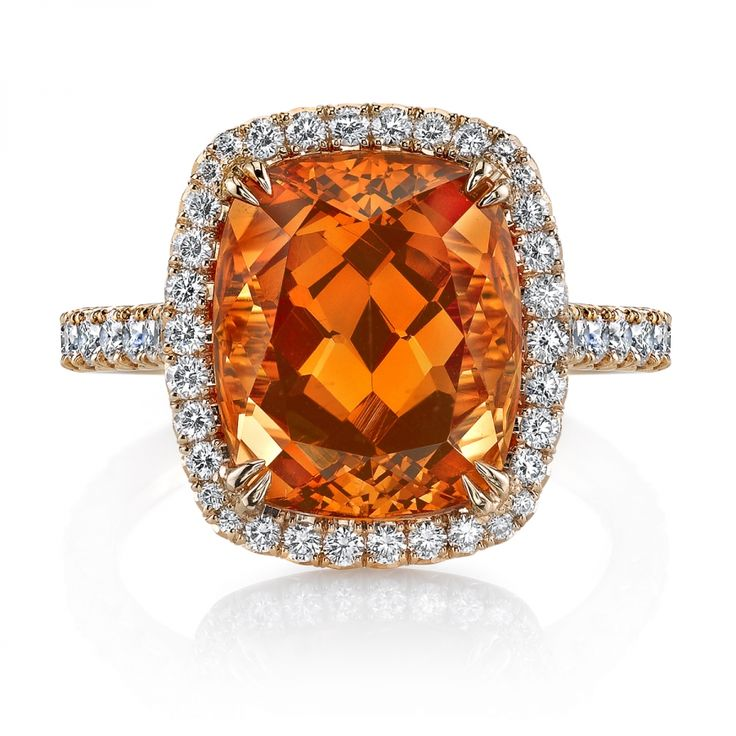 Omi Prive: Spessartite Garnet and Diamond Ring