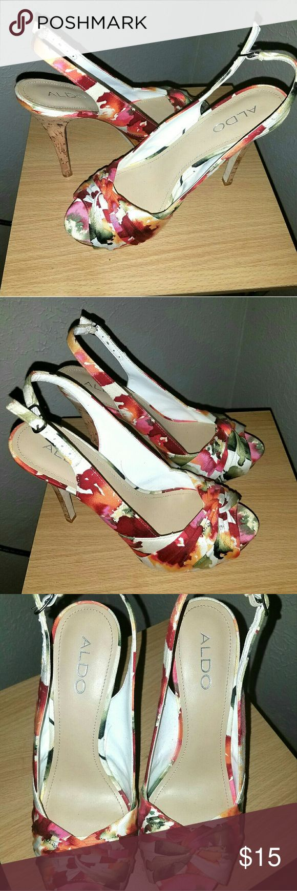 "Aldo Open Toe Floral Heels Pair of gently used floral strappy heels. Heel is low, approx 1.5"". Easy to walk in! Aldo Shoes Heels"