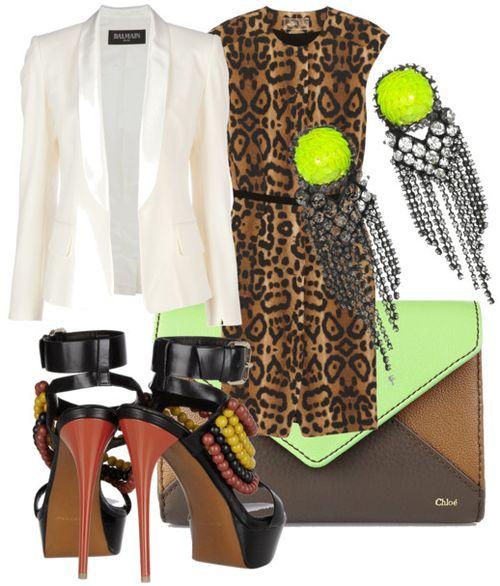 love the outfit: Outfits, Tuxedo Jackets, Tuxedos Jackets, Imprime Leopards, Imprim Leopards, Balmain Tuxedos