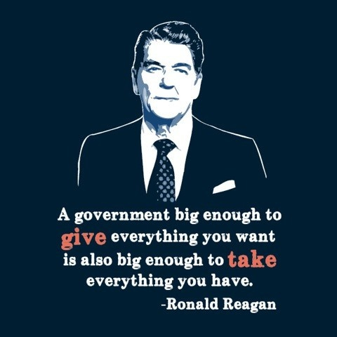 A government big enough to give everything you want is also big enough to take everything you have.  ~ Ronald Reagan