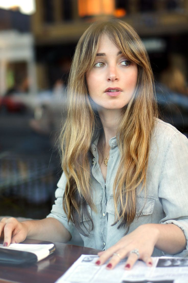 Long wavy hair. I like that this photos shows this type of hairstyle without a fan blowing at her face. It looks realistic and achievable, like, hey I could look like this while I drink coffee.