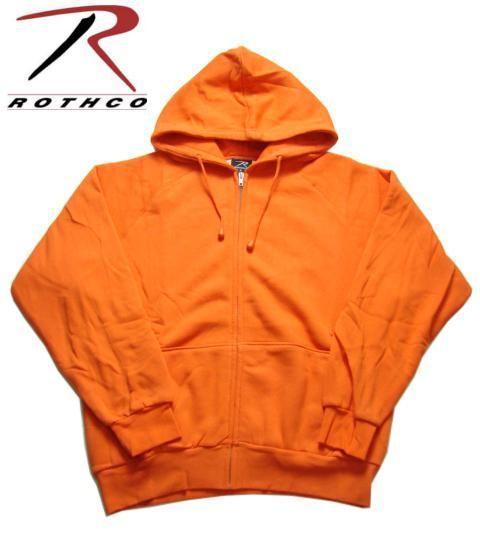 【ROTHCO】【ロスコ】ジップアップ・サーマル裏地 スウェットオレンジパーカー S-XL 【フーディー】【フード付き】【orange】【アパレル】【蛍光カラー】【parker】【zip-up】【派手】【米軍】【ミリタリー】【軍モノ】【あす楽】【楽天市場】