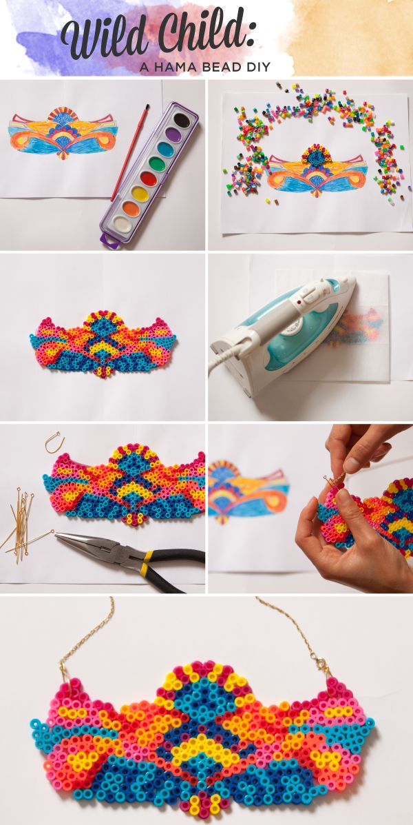 Hama Perler Bead DIY Necklace Photo Tutorial