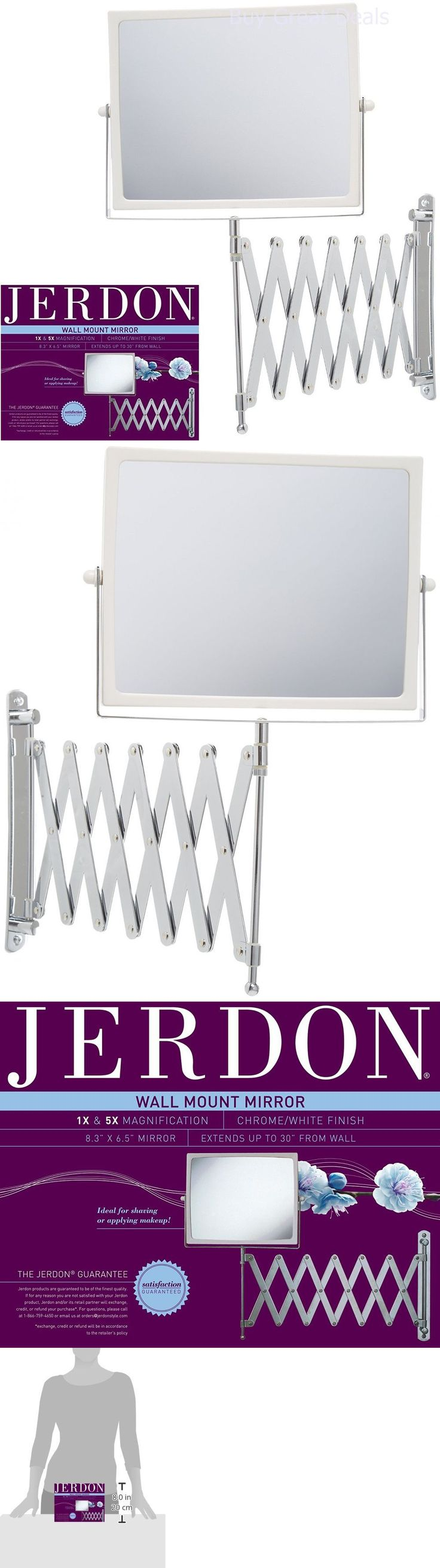 Makeup Mirrors: Extendable 2 Sided Makeup Mirror Wall Arm Shaving Swivel Magnifying Bathroom New BUY IT NOW ONLY: $32.38