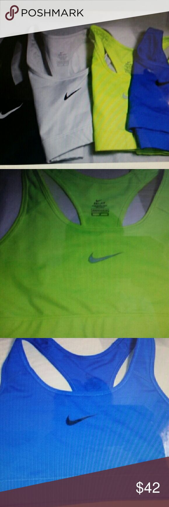 4 Nike dri fit sports bras Medium All 4 same size and style of Nike dri fit sports bras Size medium Gently worn excellent condition Blue, lime, black, white Nike Intimates & Sleepwear Bras