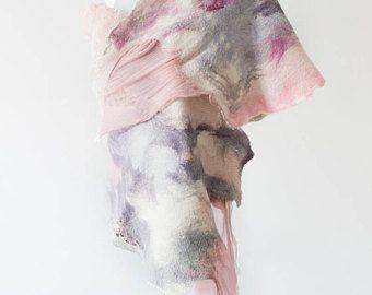 Felted Scarf, Silk Felt Wrap, Felted Shawl, Wedding Wrap, Nuno Wrap, Evening Shawl, Nonofelted Scarf, Lavender & White, Vintage Style Wrap -    Edit Listing  - Etsy