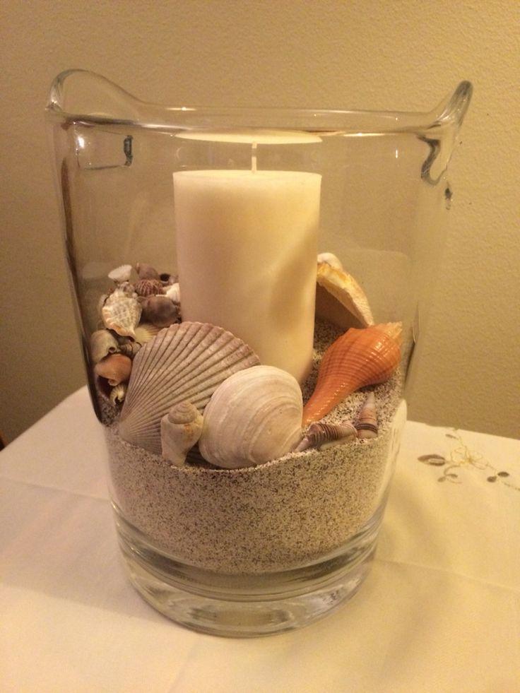 Centro de mesa, jarro decorativo a lo pinterest, arena de playa, conchitas de mar.