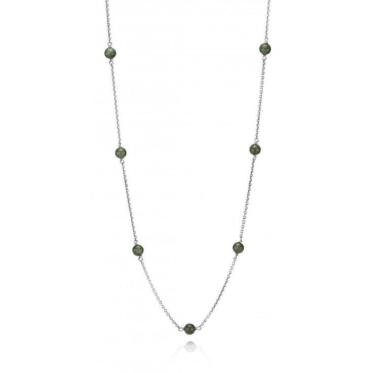 CHAIN S/S OXIDISED WIT NEPHRITE JADE BALLS 80CM - Jons Family Jewellers