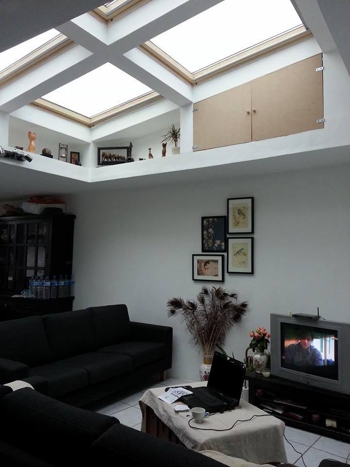 Ma maison salon / puis de lumière velux / lumière / cadre /blanc /bois
