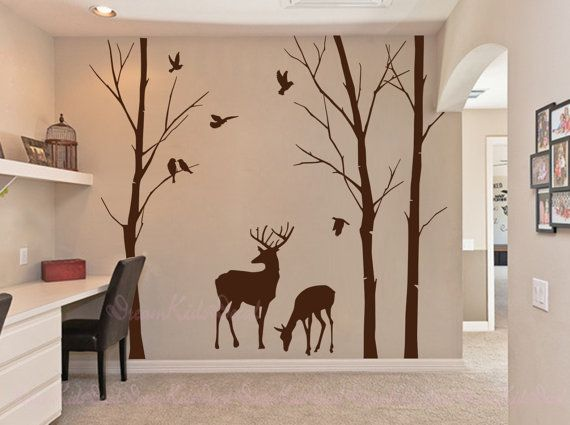 I am seriously going to put this in my living room. What do you think? Birch trees decals deer wall decals nature wall by DreamKidsDecal, $75.00