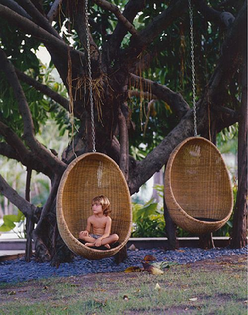 Hanging Wicker egg chair - if only my tree in the garden was big enough for one of these!: