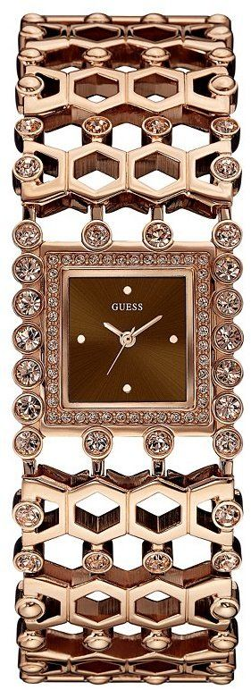 Brown and Rose Gold-Tone Sparkle Cuff Watch - Modern glamour at its best, this cuff watch is one everyone will envy. T