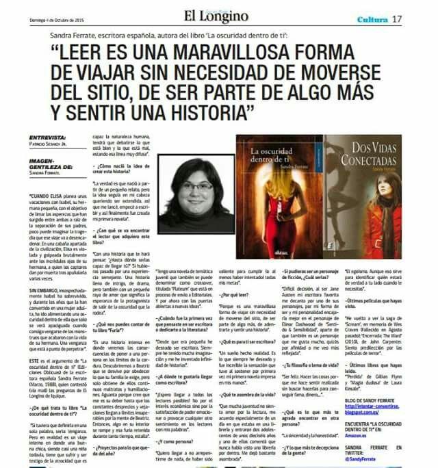 """No todos los días, se puede presumir de una entrevista realizada para el periódico """"El Longino"""" de Chile. (Página 17)  http://diariolongino.cl/wp-content/uploads/2015/10/longinoiqqoctubre4.pdf"""