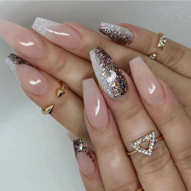 #glam nails + nude