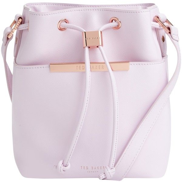 Ted Baker Metal Bar Mini Bucket Leather Across Body Bag , Pale Pink (£159) ❤ liked on Polyvore featuring bags, handbags, shoulder bags, pale pink, mini crossbody, crossbody purse, leather purse, leather crossbody and pink purse
