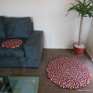 90cm Handmade Multicolour Felt Ball Rug | Custom Size Rugs are Also Available http://www.mimosauniquecollection.com.au/90cm-felt-ball-rug.html