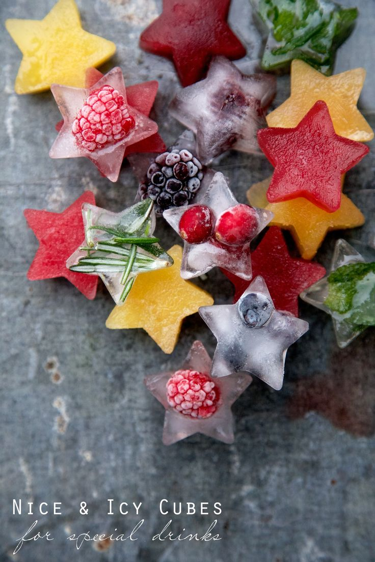 Fruit Ice Cubes....I do this with the same shapes! I put juice in the trays & use the star juice cubes with a different flavor drink. As it melts the flavor of the drink changes! Amazing!