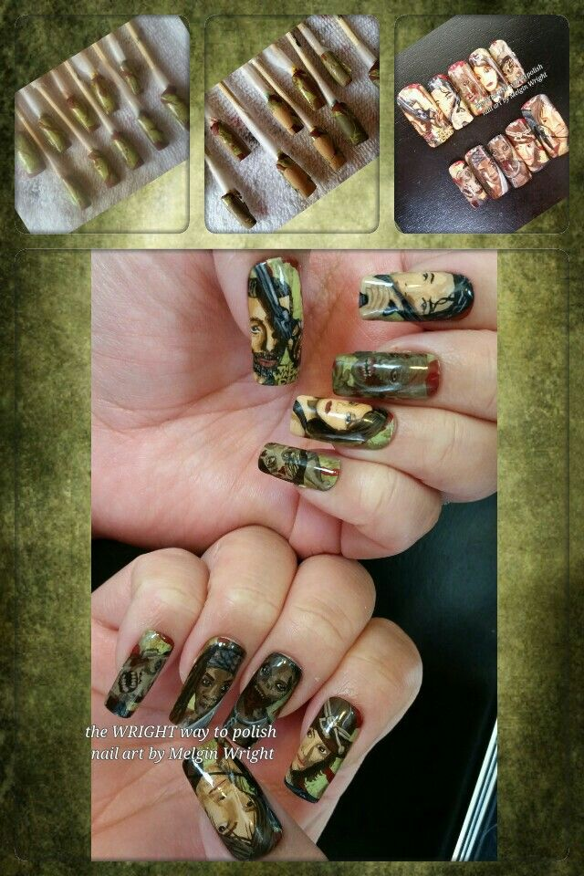 The Walking Dead inspired hand painted nail art by Me!  #twd #thewalkingdead #walkers #thewalkingdeadfanart @amcthewalkingdead @fearthewalkingdead