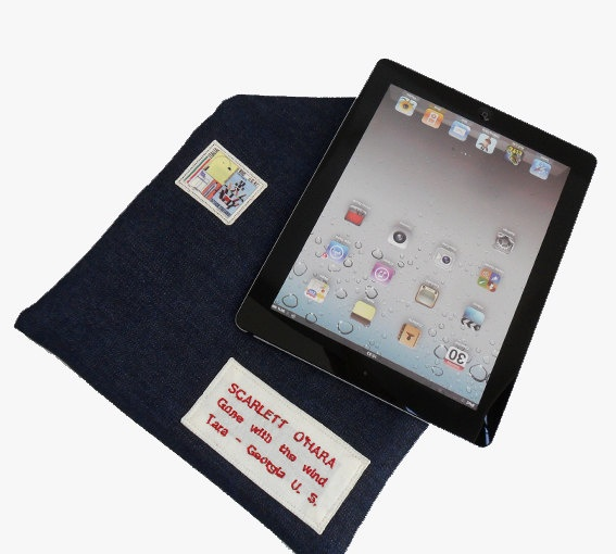 iPad Case Padded personalized jeans  envelope tablet by lunambra, €22.00