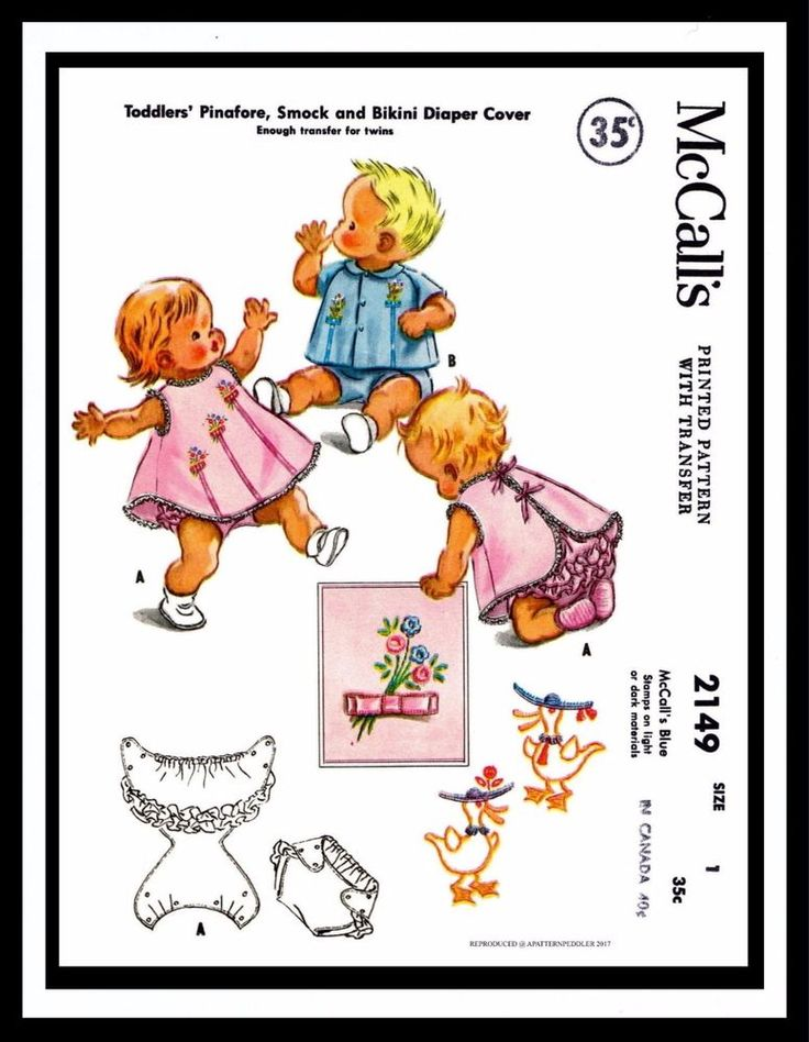 McCall's 2149 UNISEX Playsuit DRESS FROCK & Diaper Cover Toddler Sewing Pattern  | eBay