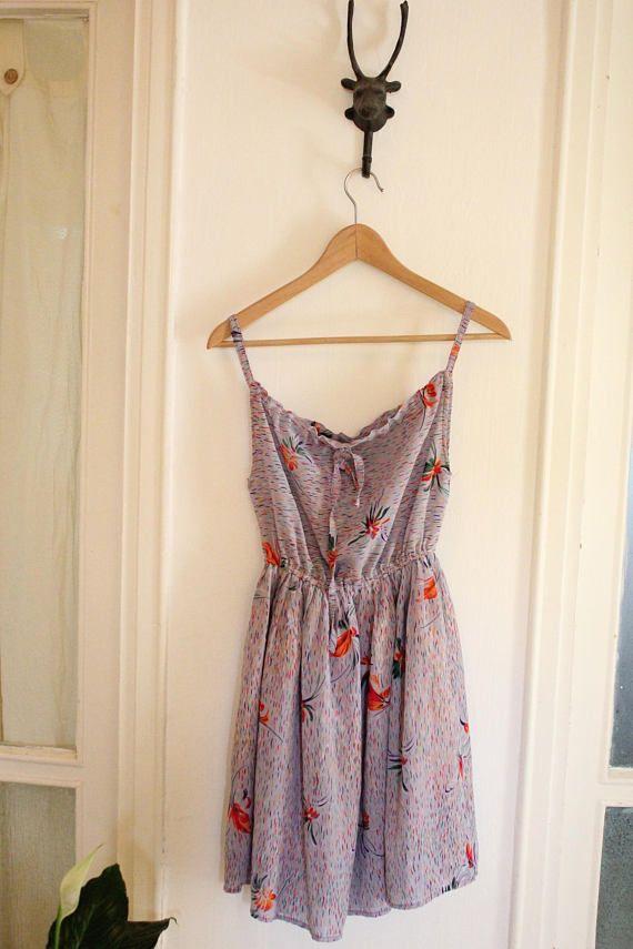Vintage 1970s Lilac Pink Floral Dress sleeveless sumer dress