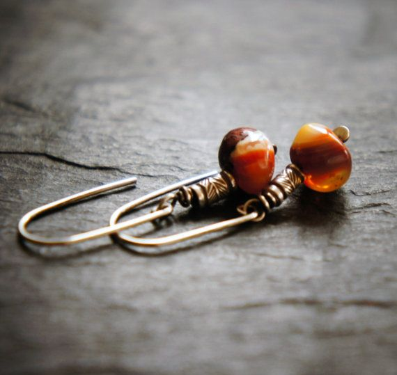 Mexican Fire Opal and Sterling Silver Earrings by DakiniUK on Etsy