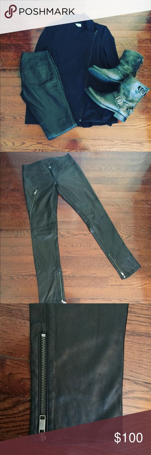 Diesel Leather Skinny Pants Amazing pair of lamb skin leather pants from Diesel in a size 25! Excellent condition with no flaws, silk lining goes halfway down leg of Pants, Moto style with zipper detailing. So soft and very high quality leather! Skinny fit, 31.5 inch inseam. Diesel Pants Skinny