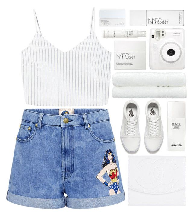 """""""wonderwoman in white (top set)"""" by charli-oakeby ❤ liked on Polyvore featuring MANGO, Paul & Joe Sister, Chanel, Vans, Linum Home Textiles, NARS Cosmetics, Fuji and This Works"""