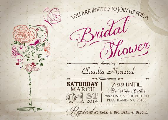 Vintage Wine & Butterfly Bridal Shower Printable Invitation