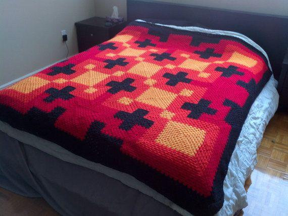 Pattern pdf: It's A Plus Queen blanket  granny by fantasticmio