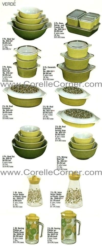 Verde Pyrex Ware, image from 1970 catalogue.