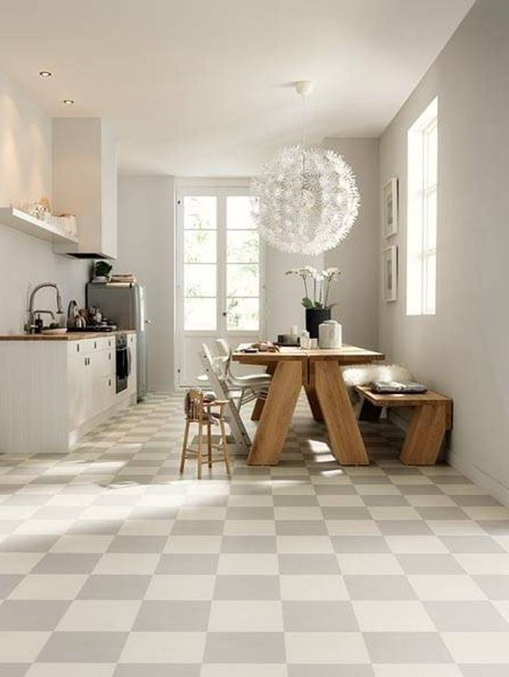 Kitchen Awesome White Themed Open And Dining Room With Simple Checkerboard Tile Flooring 17 Cool Floor Ideas