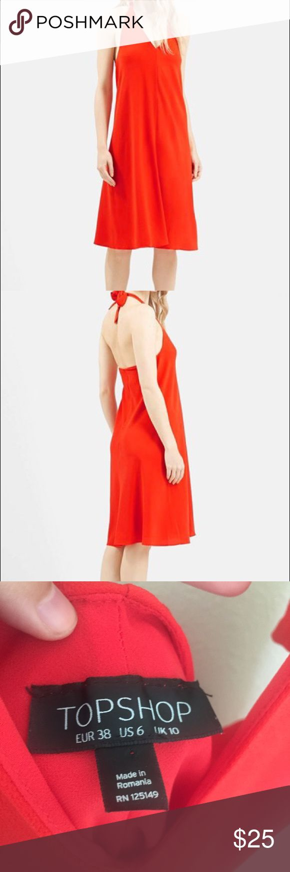 """~Sale~ Topshop Red V-Neck Halter Midi Dress Size 6. Red dress from Topshop with a v-neck line. Halter style in the back do length can be changed as desired. Back is open as well. This dress is perfect for dates or any occasion. It has only been worn once!   Measurements:   Length - 42"""" from the shoulder seam where the Halter straps meet  Bust - 17"""" lying flat  Waist - 19"""" lying flat Hips - 22.5"""" lying flat Topshop Dresses Midi"""